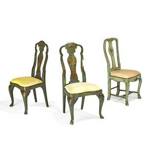 Queen anne style side chairs one pair and a similar chair with paint decorated asian motifs 20th c 41 14 x 19 12 x 17