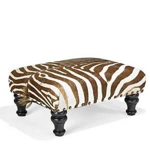 Zebra skin ottoman ebonized turned legs 20th c 19 x 40 x 32