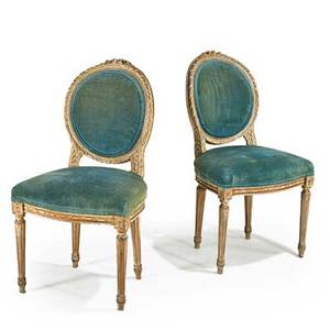 Pair of louis xvi style side chairs upholstered seats and backs 19th c 34 12 x 19 x 19