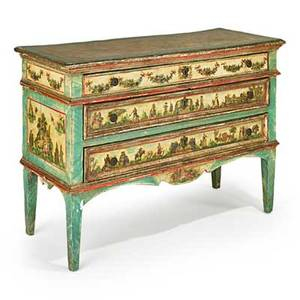 Lacca povera commode paintdecorated with floral and figural drawer fronts 19th c 35 x 50 12 x 19 12
