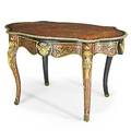 Louis xv style center table ebonized wood with boulle inlay and bronze mounts 19th c 38 34 x 51 12 x 31 12