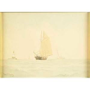 Fred s cozzens american18461928 three watercolor on paper seascapes with sailboats 1905 framed signed and dated largest 13 x 21