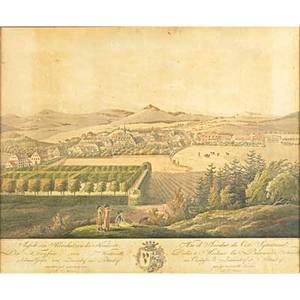Two 19th c city engravings a view of bethlehem in pennsylvania and unknown city view framed 15 34 x 19 12