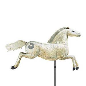 Folk art galloping horse weathervane sheet metal with crackled paint wrought iron base 20th c horse 25 12 x 44