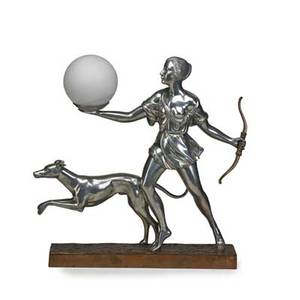 Art deco style figural lamp diana with greyhound late 20th c signed vincent  paris no 2 of 300 18 34 x 19 x 4