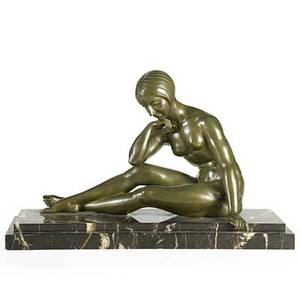 J p morante french 19th20th c bronze sculpture of seated female nude marble base signed 15 x 24 x 9