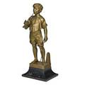 Adolphe jean lavergne french 18921969 bronze sculpture charmeur de lezards on wood base early 20th c signed 18 14 without base