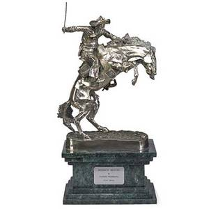 After frederic remington american 18611909 silverplate sculpture bronco buster marble base 20th c 31 x 16 x 9 12