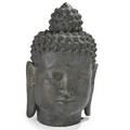 Thai bronze buddha head monumental size 20th c 34 x 21 x 17