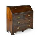 Campaign style slant front desk twopiece in mahogany with desk section over three drawers bracket feet 20th c 39 58 x 41 12 x 17 12