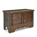 Paintdecorated blanket chest mixed woods with decorated paneled front and snipe hinges german or austrian 18th c 37 x 62 x 28
