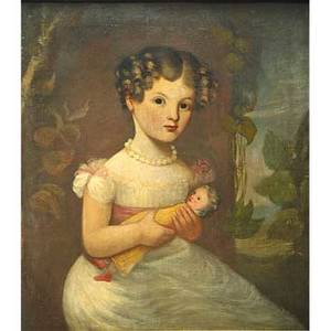 19th c childs portrait oil on canvas portrait of a girl with doll framed 23 14 x 20 14