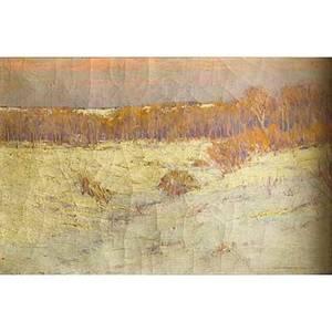 Charles warren eaton american 18571937 oil on canvas winter landscape framed signed 12 x 18