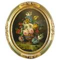19th c still life oil on canvas of flowers in a vase framed illegibly signed 18 x 15