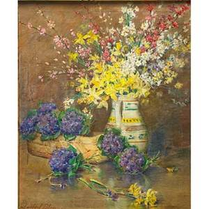 Carle john blenner american 18621952 oil on canvas still life with flowers in pitcher framed signed 29 12 x 24 12 provenance private collection new york