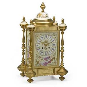 French dore bronze mantle clock porcelain panels time and strike movement ca 1900 16 12 x 9 14 x 7 34