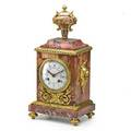 French dore bronze and marble mantle clock porcelain dial time and strike movement ca 1900 14 x 7 x 5