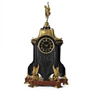 French bronze and marble mantle clock black marble bronze serpent mounts on variegated red marble base musical chime movement 19th c stamped hamman  koch paris 34 x 18 x 9 12