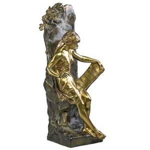 Emile louis picault french 18331915 bronze sculpture memoria signed and titled vrai bronze garanti paris stamp 25 12