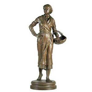 Ernest guilbert french 18481913 bronze sculpture of woman with basket signed 34 12 x 12