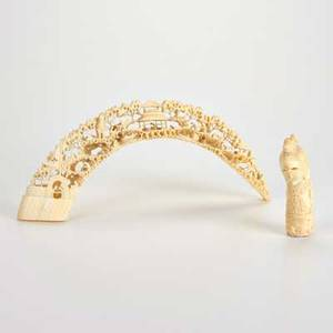 Asian two pieces carved ivory 20th c tusk with detailed landscape of village life and stylized partial figural unmarked larger 5 12 x 12 12 x 2