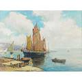 George a newman american 18751965 oil on linen of a maritime scene with sailing ships framed signed 23 78 x 32 18