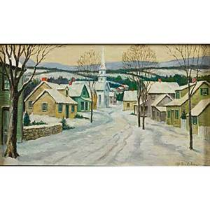 George a bradshaw etc american 18801968 oil on linen of a winter village scene signed together with oil on paperboard by unknown artist landscape with church steeple unsigned both framed