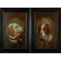Pair of hunting dogs with fowl early 20th c oils on wood framed each 23 12 x 13 12