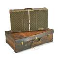 Louis vuitton hermes two suitcases france 1930s printed and stitched leather pigskin and brass louis vuitton 16 12 x 28 x 6 12 hermes 19 12 x 32 x 10