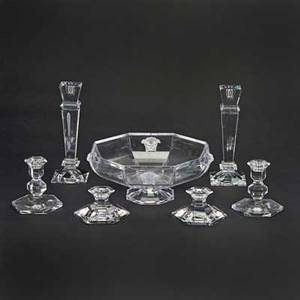 Val st lambert rosenthal etc seven glass or crystal pieces 20th c including rosenthal for versace medusa footed bowl two pairs val st lambert candlesticks etc most marked tallest 10 14