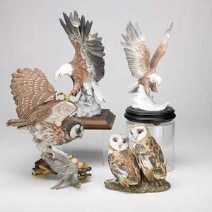 Boehm mottahedeh etc four birds porcelain 20th c  boehm boreal owl mottahedeh owls and two kaiser eagles boehm owl 13 x 13 x 10 12