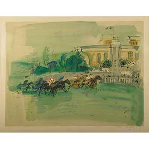 Raoul dufy french 1877  1953 lithograph in colors of a horse race framed signed and numbered ea 21 58 x 27 12 sight