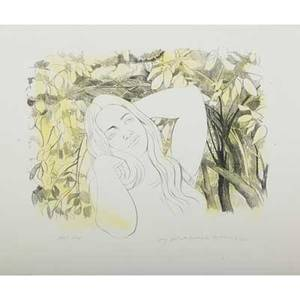 August mosca etc italianamerican 19092002 lithograph in colors young girl with hydrangeas 1971 signed titled dated and numbered ap lithograph in colors of mother and child with pencil