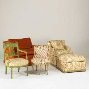 Traditional upholstered furniture five pieces 20th c love seat with down cushions club chair with ottoman and two french upholstered side chairs love seat 22 x 44 x 20