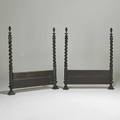 Baroque style pair of twinsize headboards converted from fourposter bed continental 19th c ebonized wood each 56 12 x 48 x 5 12