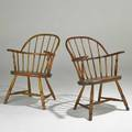 Windsor chairs married pair late 18th early19th c mixed woods taller 34 x 23 12 x 18