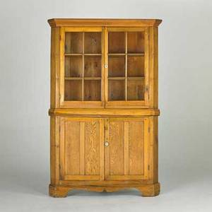 Corner cupboard 19th c pine oak glass and porcelain pulls 77 12 x 50 x 23
