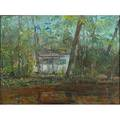 Hugh h campbell american 19051997 oil on canvas cabin in the woods framed signed 18 18 x 24 18
