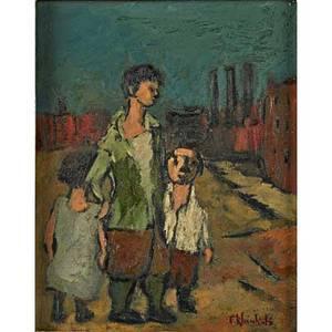Frank kleinholz american 19011987 oil on board the trio framed 9 x 7 18