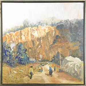 Rudolf stumpf germanamerican 20th c oil on canvas of a quarry framed signed 35 34 x 35 34
