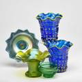 Kralik attr five pieces austria 1900s two yellow on blue flower pots together with cobalt papillon plate green martele with ruffled rim and cabinet vase with prunts unmarked each flower pot
