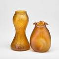 Rindskopf attr etc two glass vases austria 1900s amber corrugated and peach oil spot unmarked rindscopf 10 x 5 14 dia