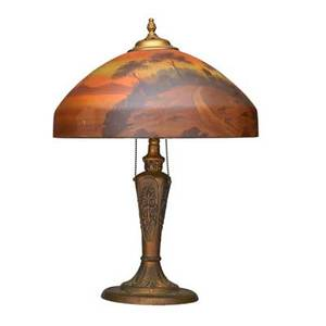 Pittsburgh table lamp usa 1920s patinated metal base and reversepainted glass shade unmarked 22 x 16 dia