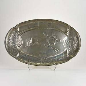 Art nouveau kayserzinn pewter game platter adorned with hunting scene late 19th20th c marked kayserzinn 4345 22 x 14