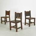Arts and crafts three side chairs usa 1920s pine leather and wroughtiron rosettes 34 x 18 x 17 12