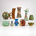 Gouda jugtown niloak van briggle etc gouda cabinet vase and candlestick niloak vase style of marblehead vase etc most marked largest 11