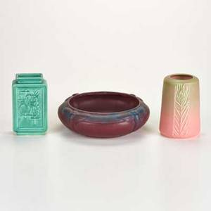Rookwood van briggle two production vases and low bowl with bee motif on mat burgundy ground 19221935 all marked largest 8 12 dia