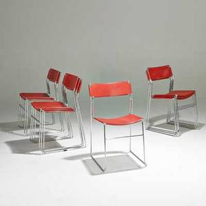 Tomado set of eight stacking chairs denmark ca 1960 perforated and enameled steel chromed steel unmarked each 29 x 18 x 18