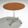 Arne jacobsen fritz hansen side table denmark 1960s teak aluminum and plastic foil label 18 12 x 22 34 dia