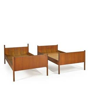 Westnofa pair of teak twin beds norway 1960s manufacturers labels each 31 x 41 12 x 78